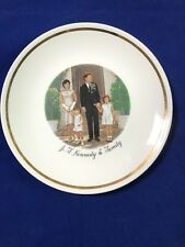 J F Kennedy & Family Plate Commemorative with wall hanger 9.25""