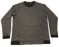 Under Armour Crewneck Fleece Sweatshirt Fitted Gray Black Mens 2XL XXL