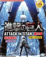 Attack on Titan (Season 3 - Part I: Chapter 1 - 12) ~ 2-DVD ~ English Version ~