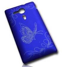 Hardcover Handy Tasche für Sony Xperia SP / Handytasche Schutzhülle Gravur Blau