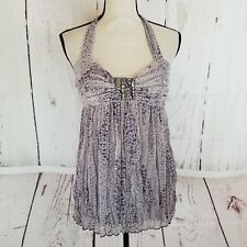 Hazel Anthropologie Halter Top Women's Sz M Purple Lavender Crinkle Embellished