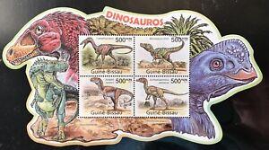 GUINEA BISSAU DINOSAUR SHAPED STAMPS SHEET 4V 2011 MNH PREHISTORIC ANIMALS