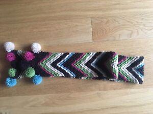 New Monsoon Girls Kids Chevron Chunky Knit Stripe Pom Pom Scarf