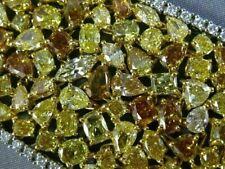 GIA WIDE 63.84CT WHITE & FANCY YELLOW DIAMOND 18KT 2 TONE GOLD TENNIS BRACELET