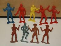 Cowboy, Indian, Astronaut & Army Lot 9 Vintage Soldiers Plastic Toy Figures 60s