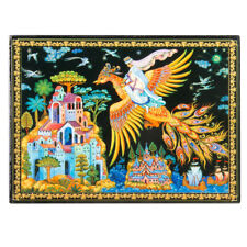 Russian Palekh Style Lacquer Box with Firebird Fairytale Print,Handmade Keepsake