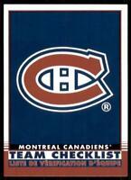 2020-21 UD O-Pee-Chee Retro Team Checklist #566 Montreal Canadiens