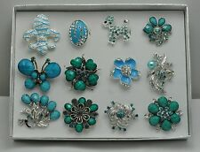 WHOLESALE LOT 12 PCS BLUE COLLECTION CHIC COCKTAIL COSTUME JEWELRY RINGS #010