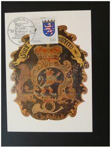 postal history Post Office sign Hessen lion maximum card Germany ref 403-08