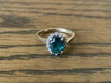 9ct Yellow Gold Ring With Diamonds And Emerald Simulant Size N