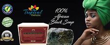 100% Raw Natural African Black Soap + Bonus Bamboo Wooden Dish