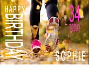 PERSONALISED FEMALE JOGGING RUNNING BIRTHDAY CARD anyNAMEage GREETING OCCASION