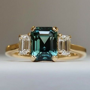 3.5 tcw Radiant Cut Teal Sapphire 3-Stone Engagement Ring 18k Yellow Gold Plated