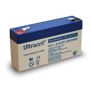 Blei-Gel-Akku 6V 1,3Ah UL1.3-6 Ultracell L97xB24xH52/58mm