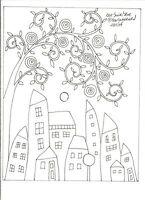 One Swirl Tree RUG HOOKING CRAFT PAPER PATTERN houses Folk Art Karla Gerard