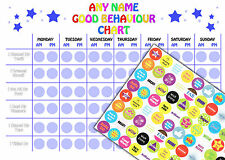REUSABLE Personalised Boys Good Behaviour Reward Chart 88 Stickers and A4 Chart
