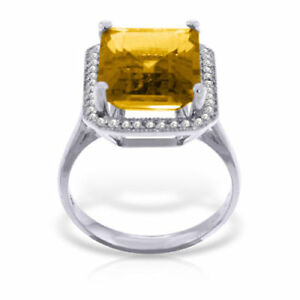 Genuine Citrine Emerald Cut Gemstone & Diamonds Halo Design Ring 14K. Solid Gold