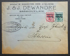 """WORLD WAR 1 GERMAN OCCUPATION OF BELGIUM MILITARY CENSORED COVER """"METAL SALVAGE"""