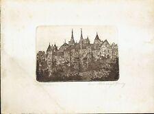 Gravure - Eaux-Fortes originale - Camille Bernier - Le Chateau de Neufchatel -
