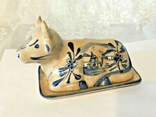 Antique Delft Blue White Pottery Cow Butter Dish - Holland - Hand Painted