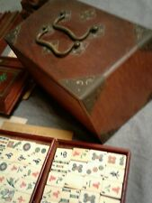 Abercrombie Fitch Vintage Board Mah Jong  Game Wood Brass Manual 1923 Deco