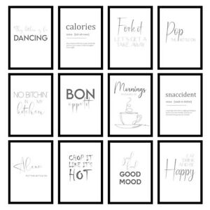 Grey Kitchen Cooking Quote Modern Minimalist Wall Art Prints Unframed Posters
