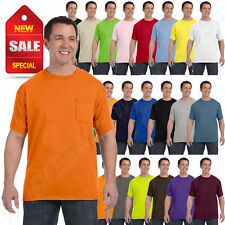 Hanes Mens Pocket T-Shirt 100% Cotton ComfortSoft Heavy S-XL Tee R-H5590