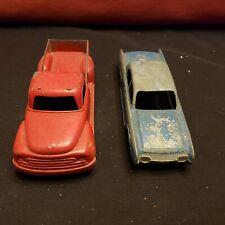 """2 Vintage Pressed Steel / Metal Toy Cars / Trucks , Car Hubley 401 - 6"""" 6 1/2"""" L"""