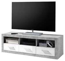 Sara - Mobile TV in bianco/cemento d'imitazione, ca. 147x48,5x45 cm