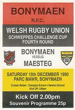 BonymaenvMaesteg - Welsh Cup - 4th round 15 Dec 1990 RUGBY PROGRAMME