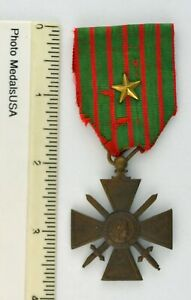 1914-1918 WWI FRENCH CROIX DE GUERRE MEDAL BRONZE STAR MENTION IN DISPATCH WWI
