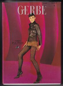 Collant fantaisie laine GERBE PULPEUX coloris Noir. Wool fashion tights.