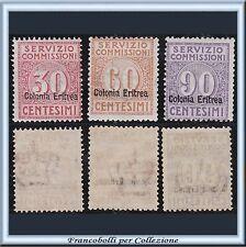 Colonie Italiane Eritrea 1913 Servizio Commissioni n. 1/3 Nuovi Integri ** []