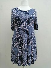 NEW MARKS AND SPENCER SIZE 20 NAVY BLUE PINK PATCHWORK SHORT SLEEVE TUNIC DRESS