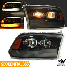 2009-2018 Ram 1500 LED DRL Sequential Polished Black Dual Projector Headlights