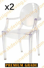 SKDL | 2 x Replica Louis Ghost Arm Dining Chair | Clear Transparent