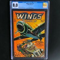 WINGS COMICS #77 💥 CGC 8.0 💥 RARE Golden Age War Comic! Fiction House 1947