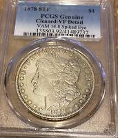 "1878 8TF Morgan Silver Dollar Ultra Rare Vam 14.8 ""Spiked Eye"" PCGS VF Detail"