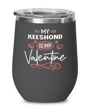 Keeshond Dog Lovers Wine Glass Insulated 12oz Black Tumbler Mug Cute Gift for Do