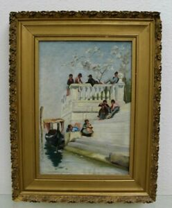 Estate Found Antique Italian Oil Painting Kids by the Gondola