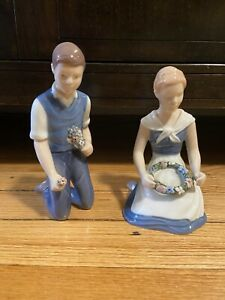 "Bing & Grondahl B&G Figurine Set ""Girl With Garland"" & ""Boy With Bouquet"""