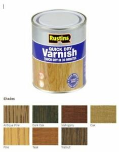Rustins Quick Dry Clear / Coloured Varnish, All Colours All Sizes