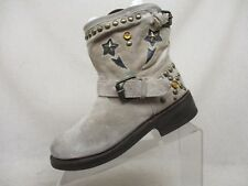 ASH Beige Suede Buckle Studded Inlay Ankle Riding Fashion Boots Size 38 EUR