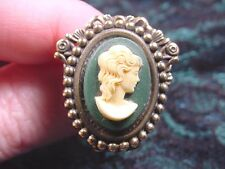 (Chat-T2-4) Lady wavy hair green oval Cameo hatpin doll hat Pin pins brass