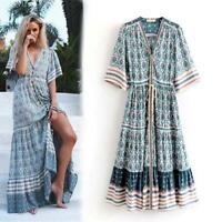 Blue Floral Print Boho Womens Vintage Hippie Deep v Neck Ethnic Festival DRESS