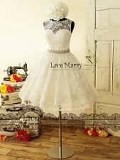 1950's Vintage Knielang Spitze Brautkleid Standesamtkleid Abendkleid Ballkleid