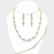 Gold tone clear bridal jewellery set diamante rhinestone sparkly prom party 0546