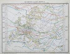 1849 -52 Europa isotérmico distribución del calor Antiguo Mapa Meyer Mano De Color