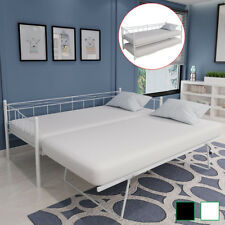 Tagesbett Metallbett Bett Bettgestell Lattenrost 180/90x200cm Stahl Schwarz/Weiß