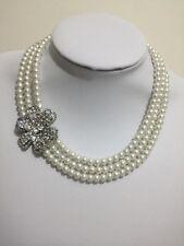 Bridal pearl Flower Rhinestone 3strand choker necklace Wedding Bridesmaids Gift